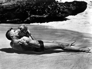 """Burt Lancaster and Deborah Kerr, shown here in a famous scene still from the 1953 Academy Award¨-winning film """"From Here to Eternity,"""" both received Oscar¨ nominations for their roles in the film. Lancaster was nominated in the Best Actor category for his portrayal of Sgt. Milton Warden while Kerr received a Best Actress nomination for her role of """"Karen Holmes."""" The film received 13 nominations in total and won eight Oscars¨ including Best Picture. Restored by Nick & jane for Dr. Macro's High Quality Movie Scans Website: http:www.doctormacro.com. Enjoy!"""